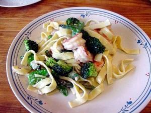crevettes, primavera pâtes, la cuisson des aliments, le dîner