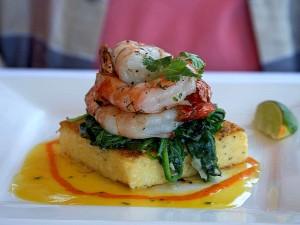 shrimp, polenta, spinich