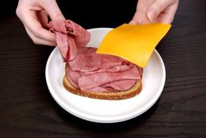 enkelt, stykke, ost, tre, fire, skiver, magert, skinke, fantastisk, lys, velsmagende, frokost