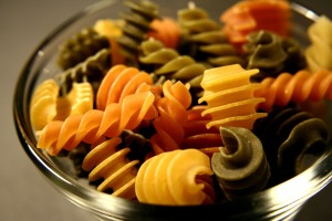 small, glass, bowl, filled, uncooked, carbohydrate, rich, colorfull, pasta