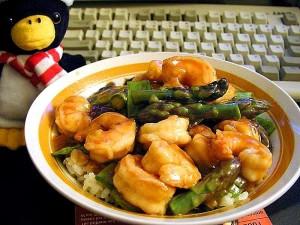sweet, sour, shrimp, pods, asparagus, food, dinner