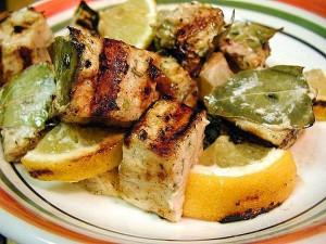 espadon, citron, feuille de laurier, la cuisine, le dîner, grillé, nourriture