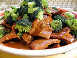 szechwan, le bœuf, le brocoli, la nourriture, le dîner
