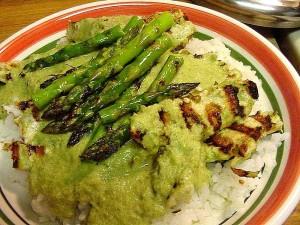 thai, curry, grilled, asparagus