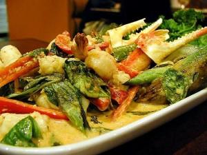 thai, la nourriture, les crabes, les griffes, le basilic