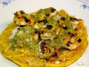 tostadas, shrimp, cooking, food, dinner, salsa