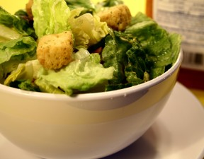 variety, lettuce, leaves, croutons, salad, dressing