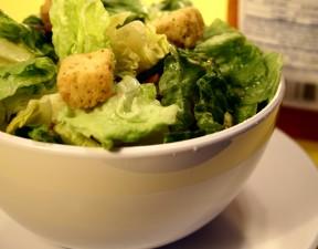variété, laitue, feuilles, croûtons, salade, vinaigrette