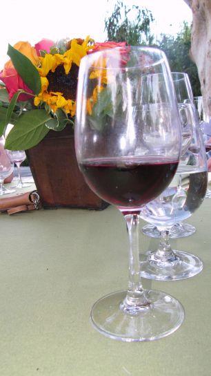 vin, verre, rouge, vin, table