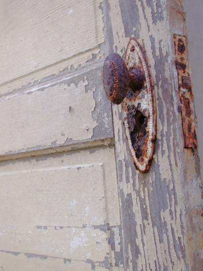 starinski, vrata, vrata, kvake, poljoprivrednici, kući, dugo, napustio