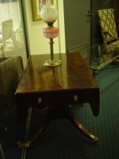antique, table, lamp