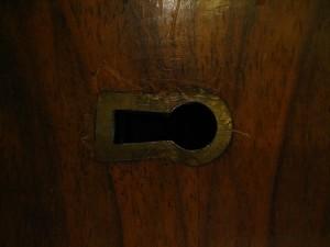 petite, placard, porte, serrure, vieux, métal, rouge, bois