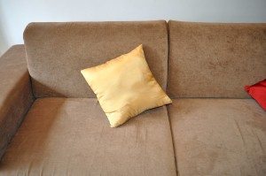 yellowish, bed, cushion