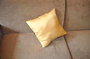 yellowish, cushion, bed