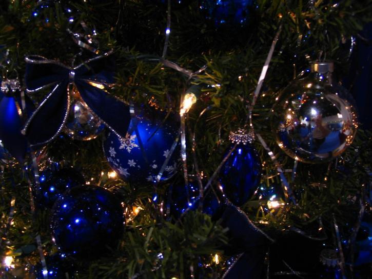Noël, décorations, bleu, verre, ornements