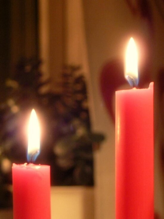 red, Christmas, candles