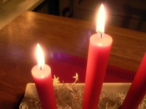 red, Christmas, candles, fire