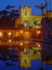 balboa, parcs, étangs, réflexions, lumières, nuit, matin