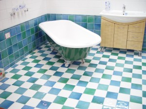 bathtub, green, blue, white, tiles, interior