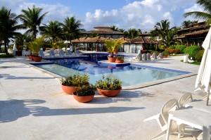 beau, luxe, maison, natation, piscine, transats