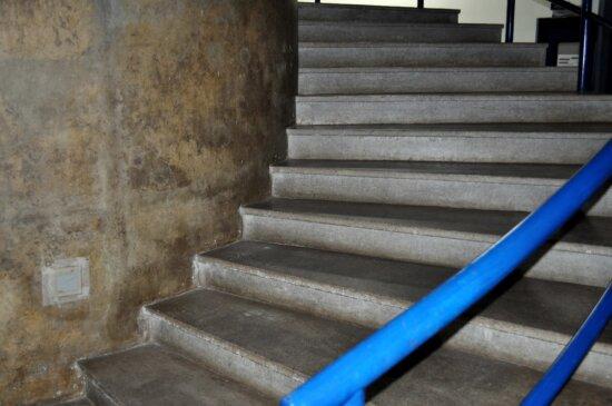 concrete, stairs, street, blue, handrail