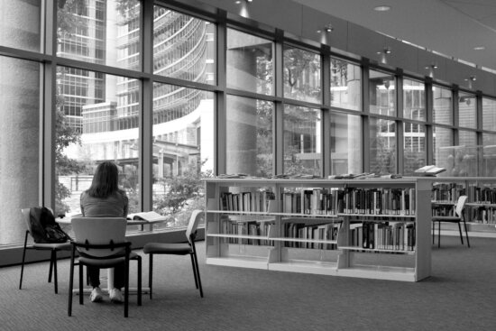 female, sitting, library