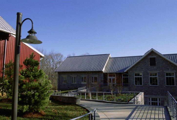 lavere, indgangen, instruktions, east, klasseværelset, bygning