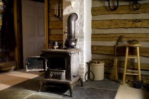 velho, gesso, ferro, madeira, fogão, casa, interior