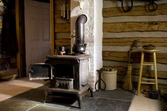 old, cast, iron, wood, stove, home, interior