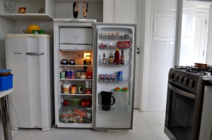 open, fridge, kitchen