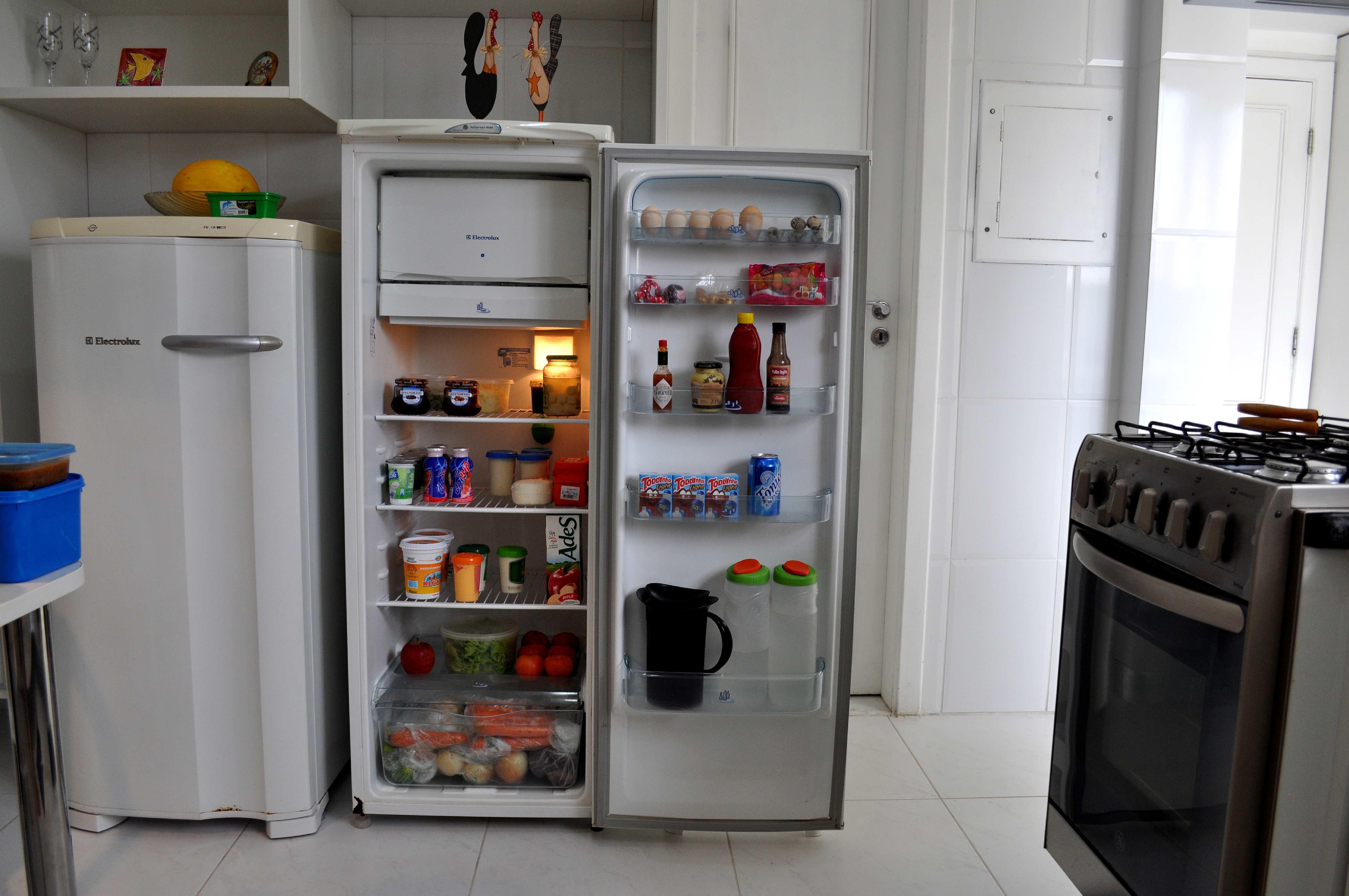 Free photograph; open, fridge, kitchen