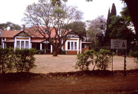 outside, student, hostel, Salisbury, Rhodesia, Harare, Zimbabwe