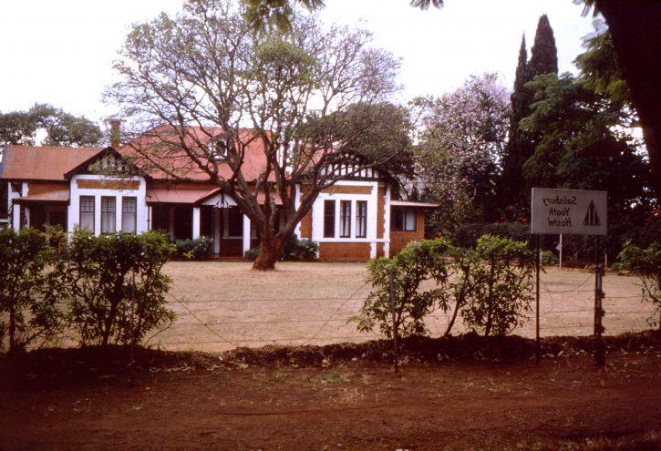 utenfor, student, Hostell, Salisbury, Rhodesia, Harare, Zimbabwe