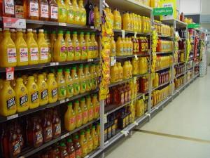 hyllor, ställningar, frukt, juice