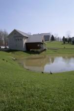 malé domy, jazero, fron