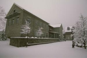 neige, couvert, terrasse, entrée, bâtiment