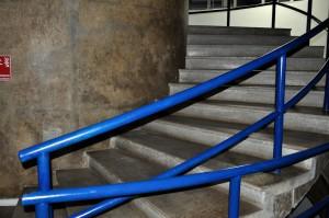 trappe, blå, gelænder