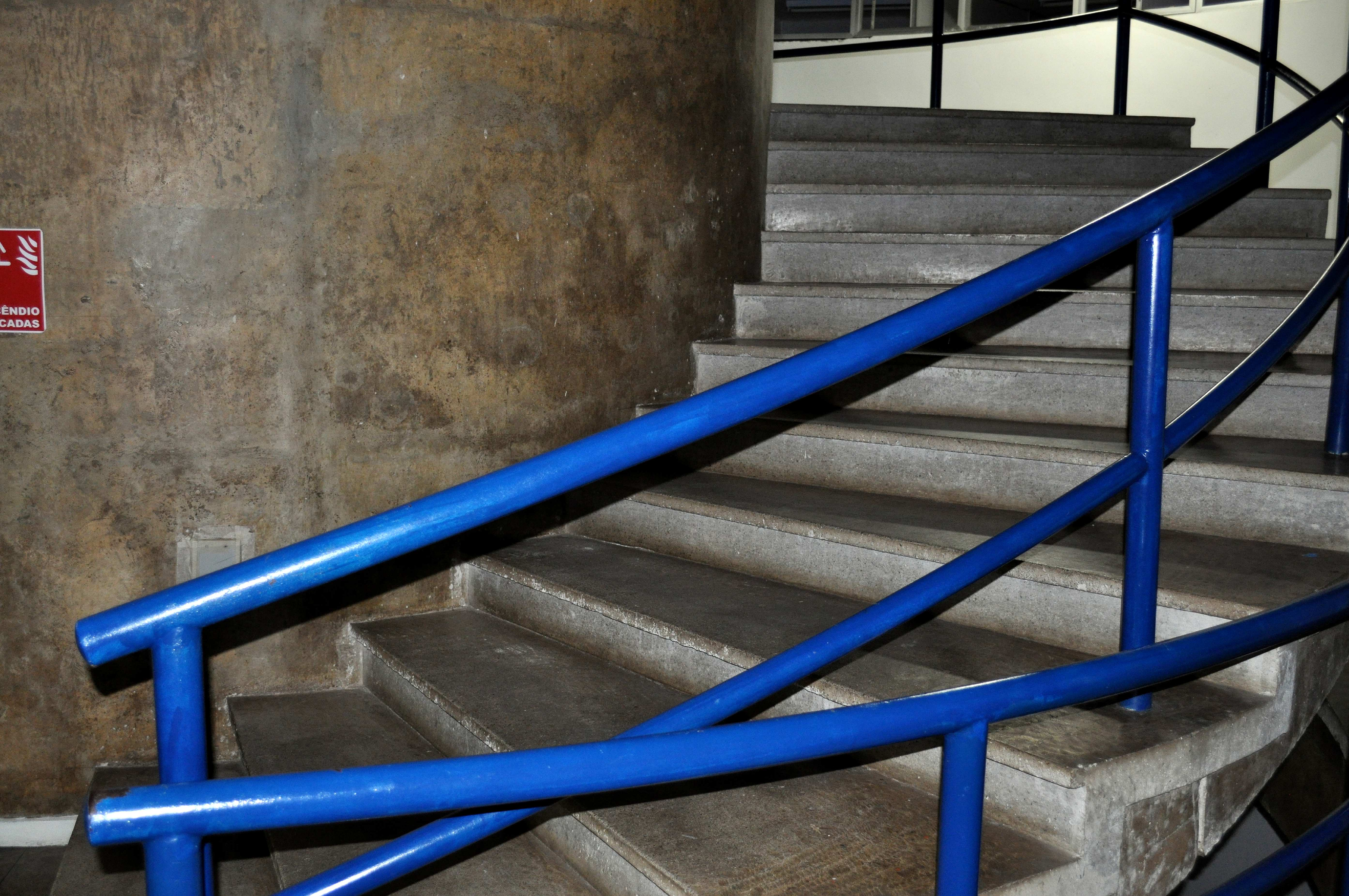 Free photograph; stair, blue, banister