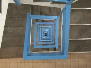 階段、手すり、ブルー