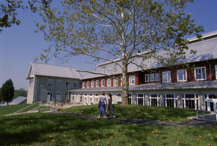 zwei, Studenten, Wandern, Lehr, west, Gebäude