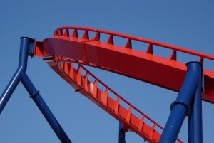 red, roller, coaster, track, blue, supports