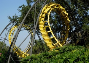 yellow, roller, coaster, track, set, trees