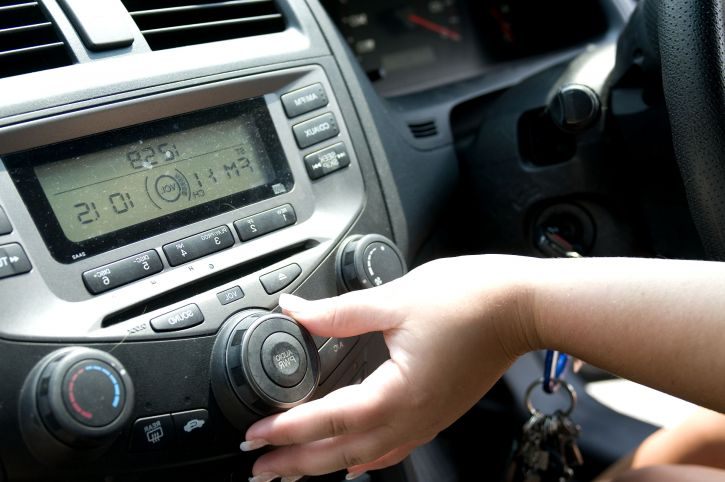 Nastavenie hlasitosti, auto, rádio, posedenie, kolesa, automobil