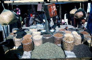 afghanistan, market, vendor, large, dry, food, products, spices, sell