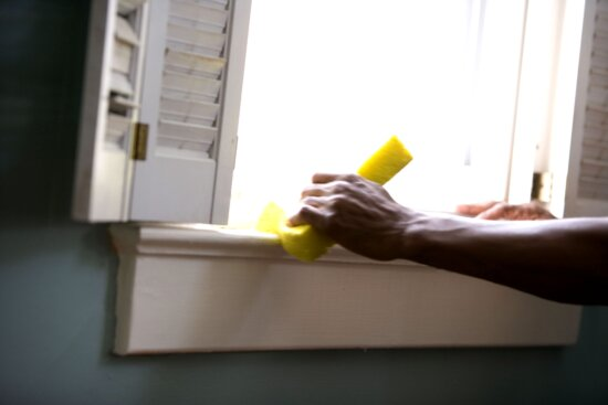 African American, cleaning, window, home