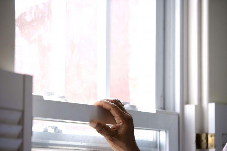arm, sträckt, Posas, fönster