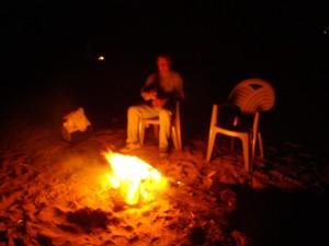 plage, feu, nuit