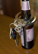 bottle, beer, neck, pair, handcuffs, set, car, keys