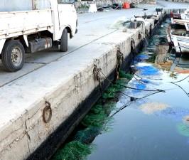 byblos, quay, walls, oil, spill, damage