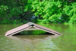 cache, rivière, bateau, rampe, kiosque
